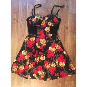 Black, Red, and Yellow Roses Minidress